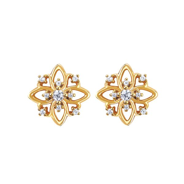 Earrings - 14k Yellow Gold Diamond Earrings