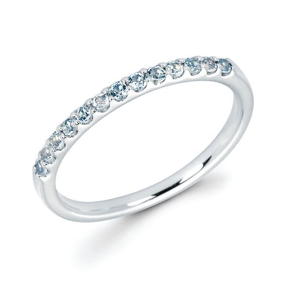 14k White Gold Ring - Aquamarine Stackable Band in 14K Gold