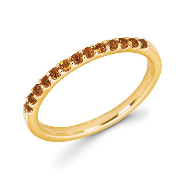 14K Yellow Gold Ring - Citrine Stackable Band in 14K Gold