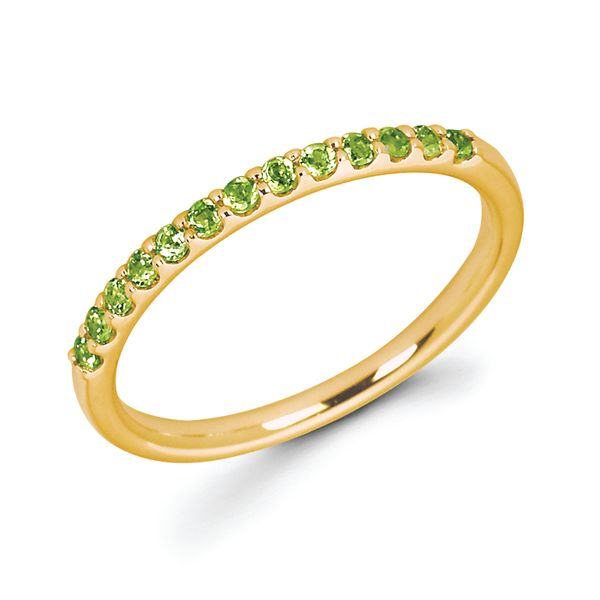 14K Yellow Gold Ring - Peridot Stackable Band in 14K Gold