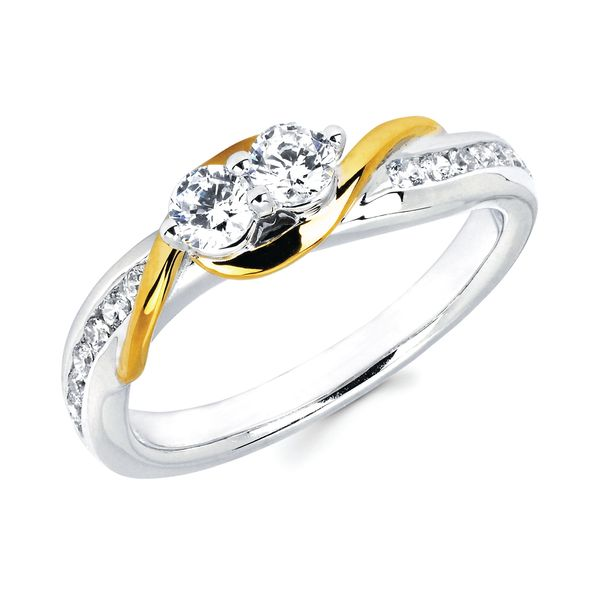 14k White And Yellow Gold Ring - 1/2 CTW Diamond Two-Stone Fashion Ring in 14K Gold