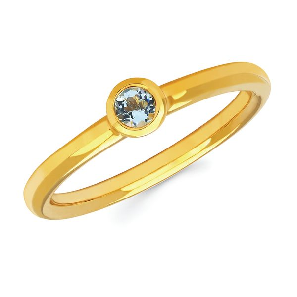 14k Yellow Gold Ring - Aquamarine Bezel Set Ring Aquamarine Stacking Ring