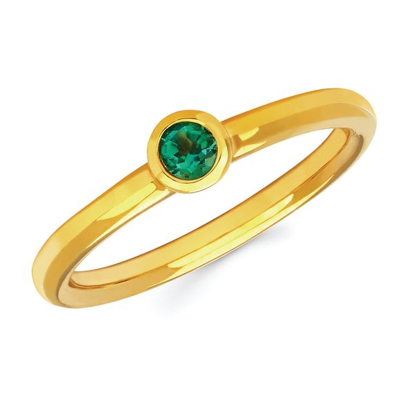 14k Yellow Gold Ring - Emerald Bezel Set Ring Emerald Stacking Ring