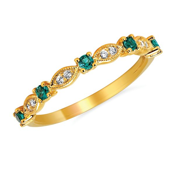 14k Yellow Gold Ring - Diamond and Emerald Fashion Ring in 14K Gold