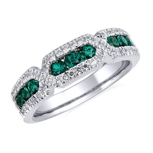 14k White Gold Ring - 1/4 ctw. Diamond and Emerald Fashion Ring