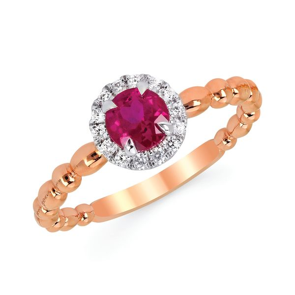 Gemstone Rings - 14k Rose & White Gold Gemstone Fashion Ring