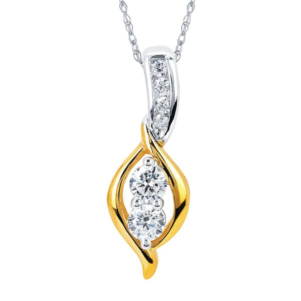 14K White & Yellow Gold Pendant by 2Us Diamond Jewelry