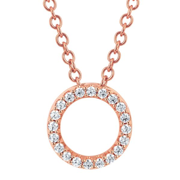 14K Rose Gold Pendant - 1/6 CTW Diamond Circle Fashion Pendant in 14K Gold