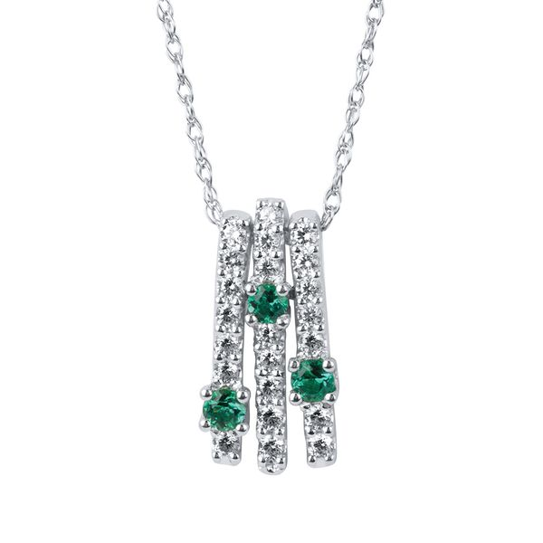 14k White Gold Earrings - 1/3 Ctw. Diamond and Emerald Pendant in 14K Gold