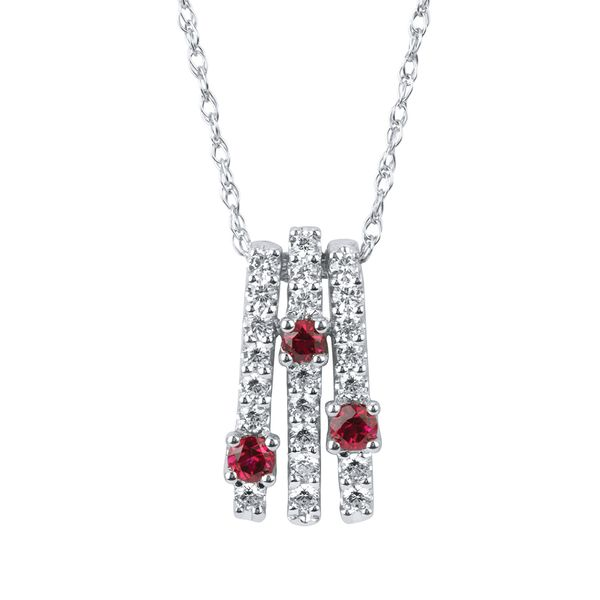 14k White Gold Earrings - 1/3 Ctw. Diamond and Ruby Pendant in 14K Gold