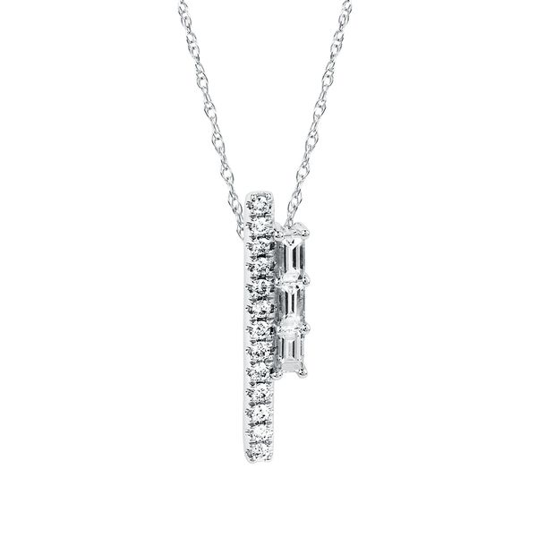14k White Gold Pendant - 1/3 Ctw. Diamond Line Pendant in 14K Gold with 18