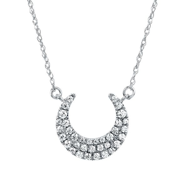14k White Gold Pendant - 1/5 Ctw. Diamond Crest Necklace