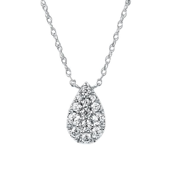 14k White Gold Pendant - 1/5 Ctw. Diamond Pear Shape Necklace in 14K Gold with 16