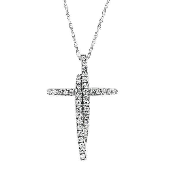 14k White Gold Pendant - 1/4 Ctw. Diamond Cross Pendant in 14K Gold with 18