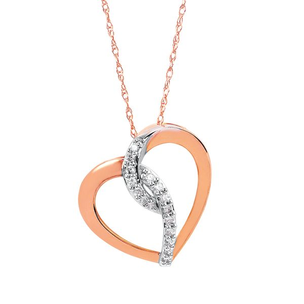 14k White And Rose Gold Pendant - 1/8 Ctw. Diamond Heart Pendant in 14K Gold with 18