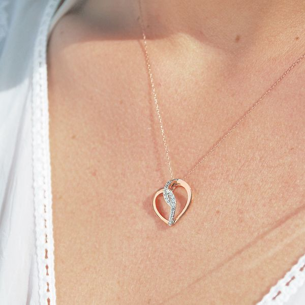 Pendants & Necklaces - 14k White And Rose Gold Pendant - image 2