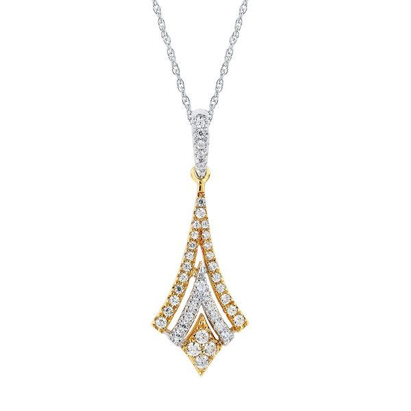 14k White And Yellow Gold Pendant - 1/4 Ctw. Diamond Two-Tone Art Deco Style Pendant in 14K Gold with 18