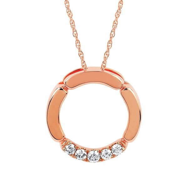 14k Rose Gold Pendant - 1/6 Ctw. Diamond Circle Pendant in 14K Gold with 18