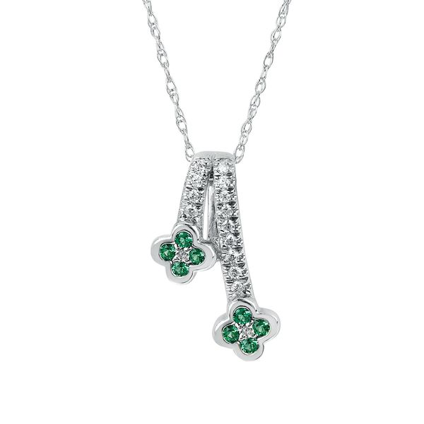 14k White Gold Pendant - Emerald and Diamond Pendant in 14K Gold with 18