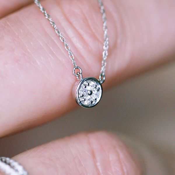 Diamond Pendants - 10k White Gold Pendant - image #2