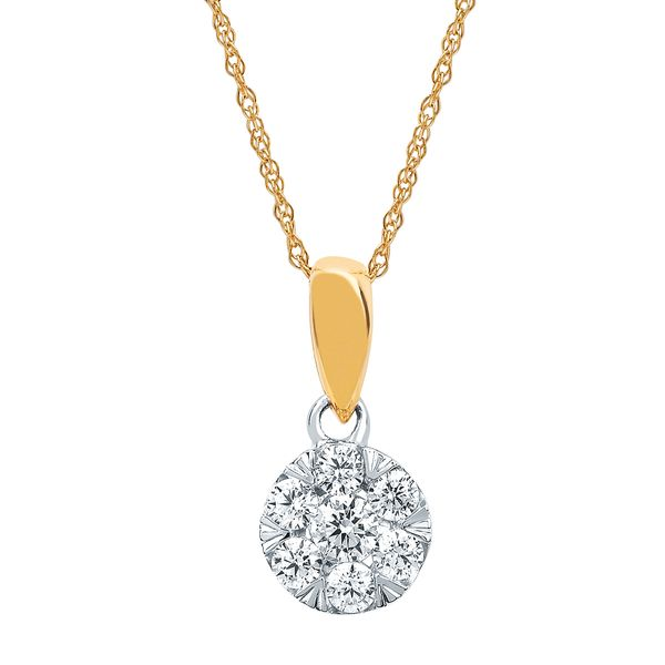 Diamond Pendants - 14k White And Yellow Gold Pendant