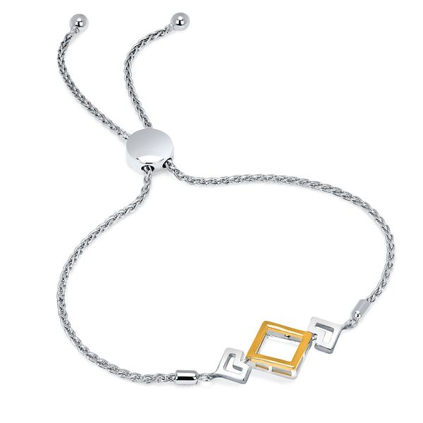 Silver And 14k Yellow Bracelet - Reversible Bracelet in Sterling Silver and 14K Gold