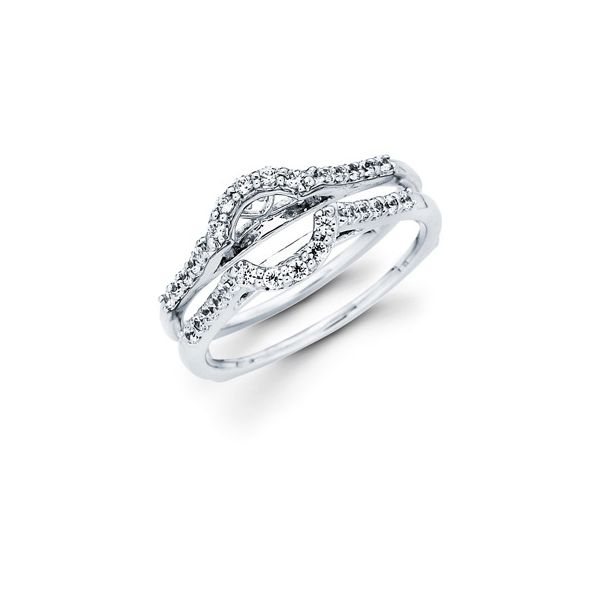 14K White Gold Wrap Ring - 1/3 Ctw. Diamond Wrap in 14K Gold