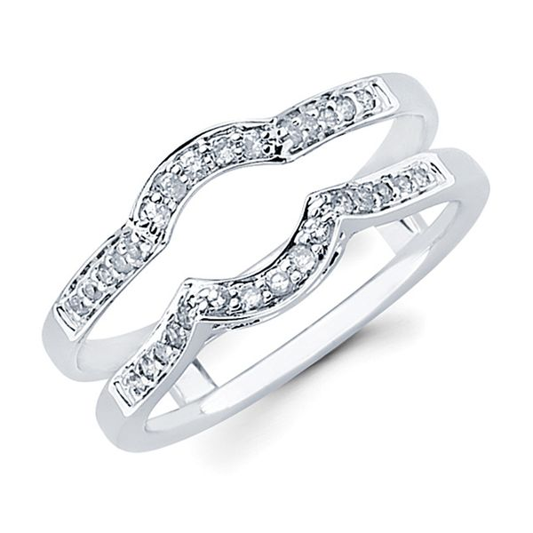 14K White Gold Wrap Ring - 1/5 Ctw. Diamond Wrap in 14K Gold