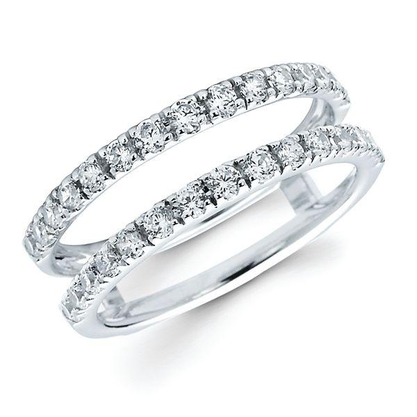 14K White Gold Wrap Ring - 3/4 Ctw. Diamond Bridal Insert in 14K Gold