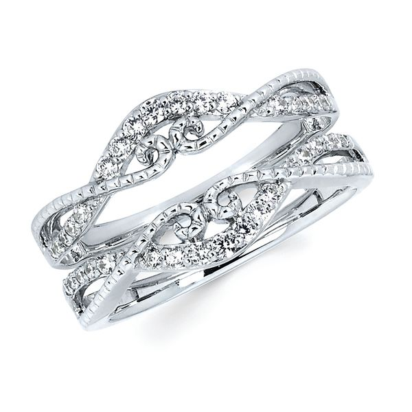 14K White Gold Wrap Ring - 1/3 Ctw. Diamond and Rope  Bridal Insert in 14K Gold