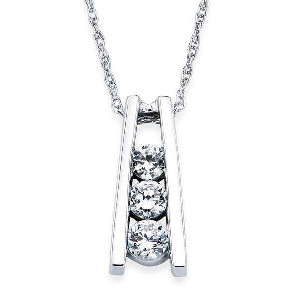 14k White Gold Pendant - 1 Ctw. 3 Stone Diamond Ladder Pendant in 14K Gold with 18