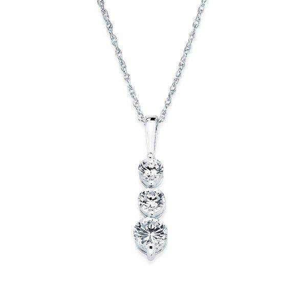 14k White Gold Pendant - 1/2 Ctw. 3 Stone Diamond Drop Pendant in 14K Gold with 18