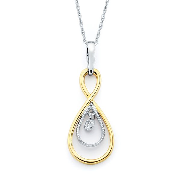 14k White And Yellow Gold Pendant - Shimmering Diamonds® Twisted Tear Drop Pendant in 14K Gold with .08 Ct. Diamonds