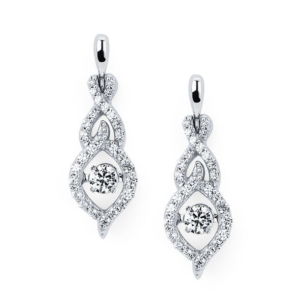 14k White Gold Diamond Earrings by Shimmering Diamonds