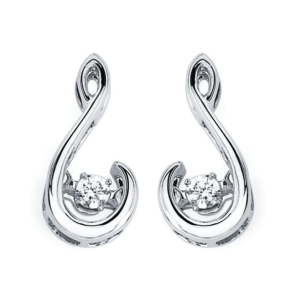 Sterling Silver Diamond Earrings by Shimmering Diamonds