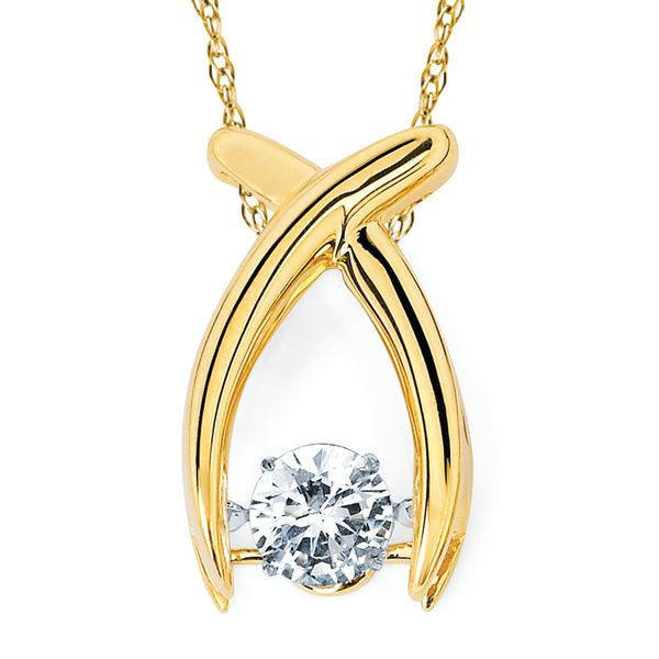 14k Yellow Gold Pendant - Shimmering Diamonds® Crossover Pendant in 14K Gold with 1/2 Ctw. Diamonds