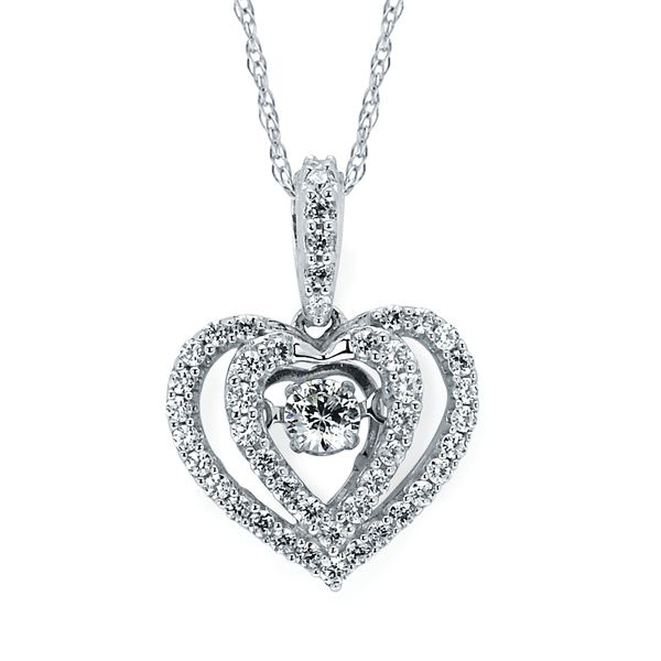 14k White Gold Diamond Pendant by Shimmering Diamonds