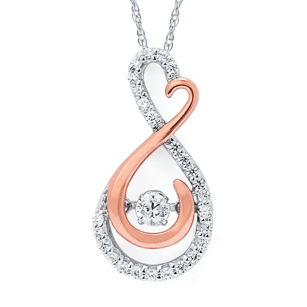 14k White And Rose Gold Pendant by Shimmering Diamonds