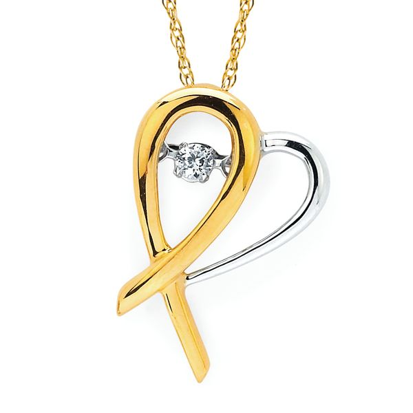 14k Yellow & White Gold Diamond Pendant by Shimmering Diamonds