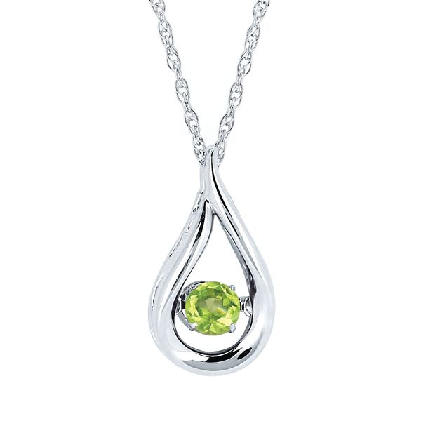 Sterling Silver Pendant - Shimmering Diamonds Teardrop Pendant with 3/8 tgw. Peridot Birthstone in Sterling Silver (August)