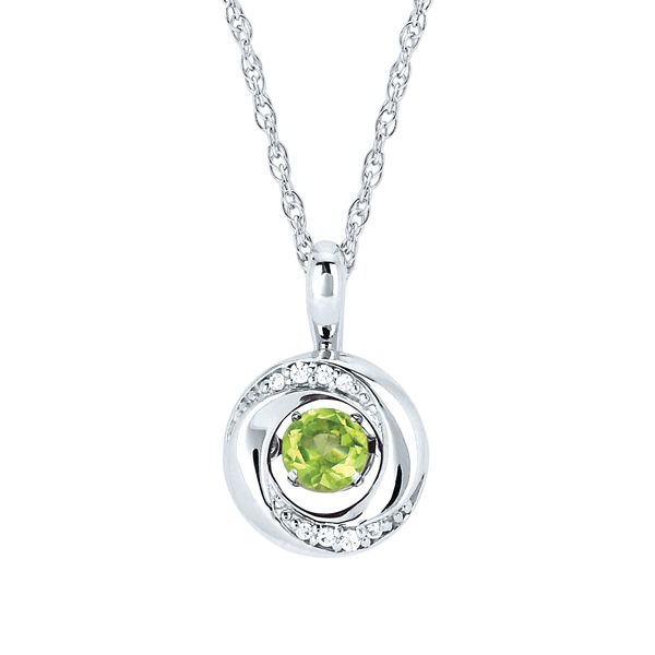 Sterling Silver Pendant - Shimmering Diamonds Knot Pendant with 3/8 tgw. Peridot Birthstone and .03 ctw. Diamonds in Sterling Silver (August)