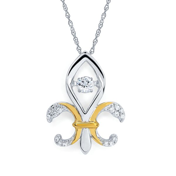 14k White And Yellow Gold Pendant by Shimmering Diamonds