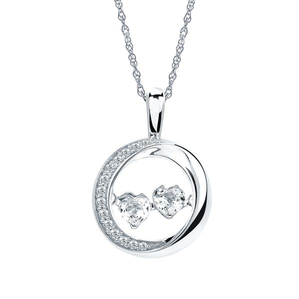 Sterling Silver Pendant - Shimmering Diamonds® 5/8 ctw.Two-Stone Heart Cut White Sapphire and Diamond Pendant in Sterling Silver