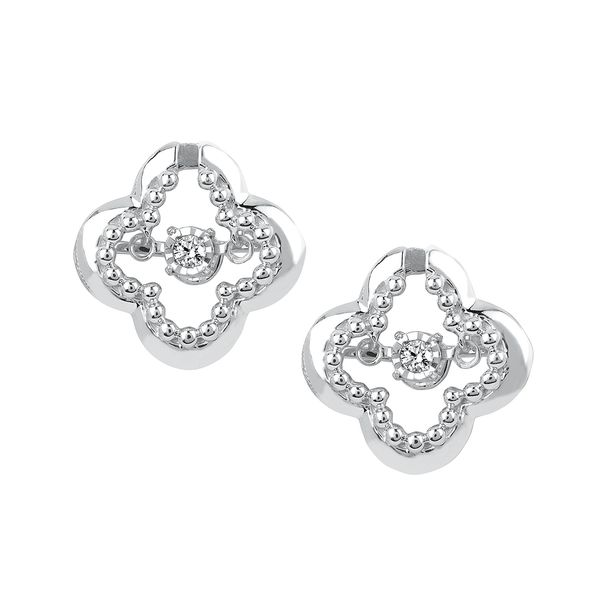 Sterling Silver Earrings - Shimmering Diamonds® Clover Earrings in Sterling Silver with .06 Ctw. Diamonds