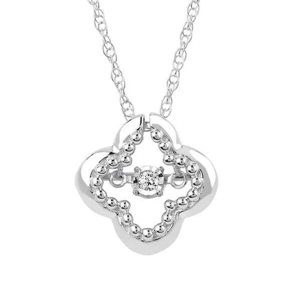 Sterling Silver Pendant - Shimmering Diamonds® Clover Pendant in Sterling Silver with .03 Ctw. Diamonds with 18