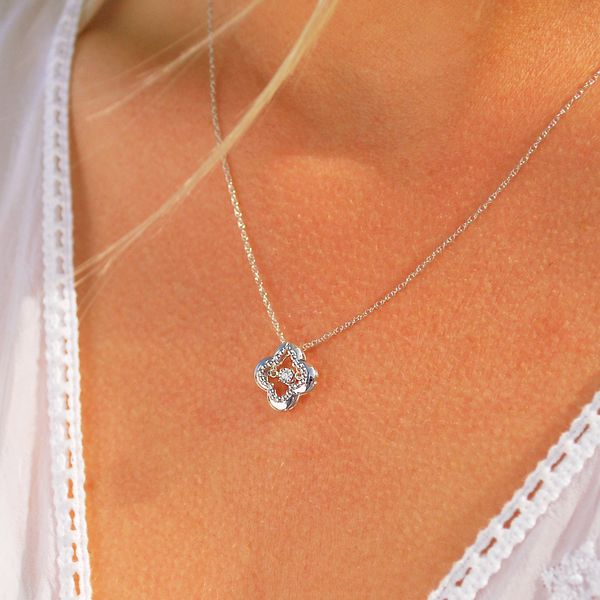 Pendants - Sterling Silver Diamond Pendant - image #2
