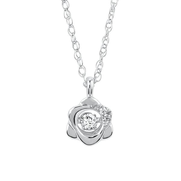 Sterling Silver Pendant - Shimmering Diamonds® Flower Pendant in Sterling Silver with 1/10 Ctw. Diamonds and 18