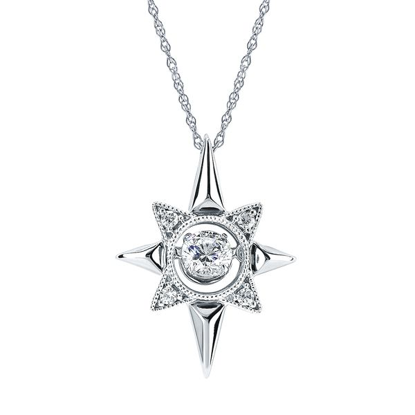14k White Gold Pendant - Shimmering Diamonds® Radiant Universe® Pendant in 14KT Gold with 1/4 Ctw. Diamonds and 18