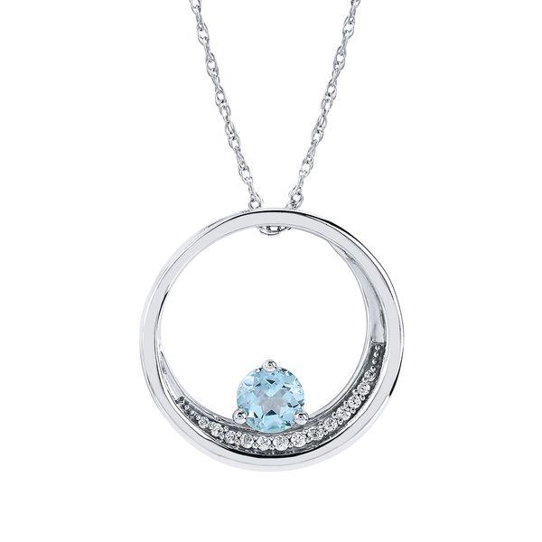 Sterling Silver Pendant - 1/2 Tgw. Aquamarine and Diamond Pendant in Sterling Silver (Includes .08 Ctw. Diamonds)