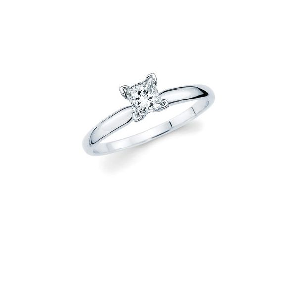 14k White Gold Engagement Ring - Classic Bridal: Diamond Ring available for 3/8 Ct. Princess Cut Center Stone in 14K Gold Engagement ring and wedding band sold separately